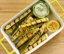 Grilled Zucchini with Garlic Dip