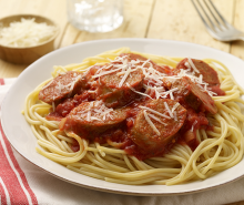 Spaghetti with Hot Italian Turkey Sausage