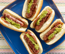 Bacon Wrapped Turkey Franks with Guac