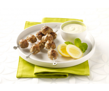 Spicy Ground Turkey Kabobs with Tangy Yogurt Sauce