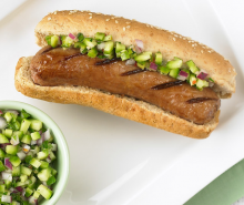 Turkey Bratwurst with Cucumber and Onion Relish