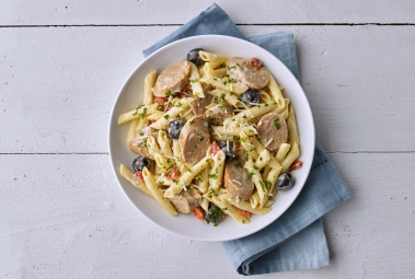 Penne with Hot Italian Turkey Sausage