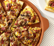 Turkey Bacon & Sausage Breakfast Pizza