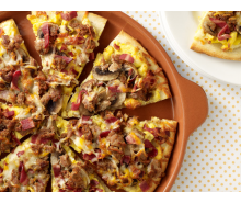 Turkey Bacon & Sausage Breakfast Pizza