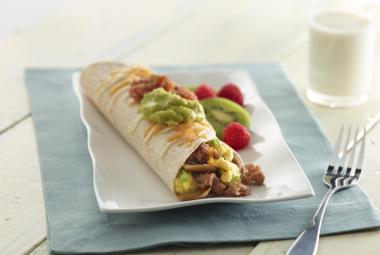 Green Onion Scramble & Turkey Burrito