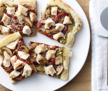 Mushroom Pesto Turkey Pizza