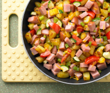 Easy Turkey Ham Skillet Breakfast