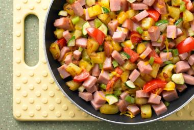 Easy Turkey Ham Skillet Breakfast