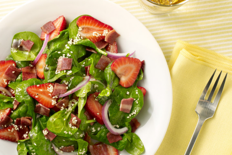 Strawberry, Spinach Turkey Bacon Salad