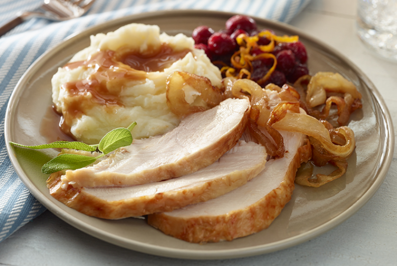 Easy Turkey with Caramelized Onions & Cranberry Gravy