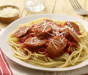 Spaghetti with Hot Italian Turkey Sausage