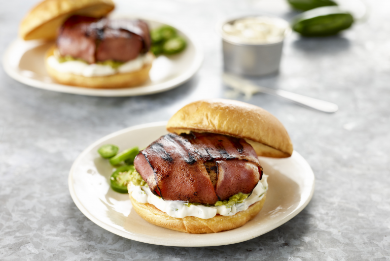 Bacon Wrapped Turkey Burger with Guac & Jalapeno Mayo