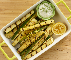 Grilled Zucchini with Garlic Dip
