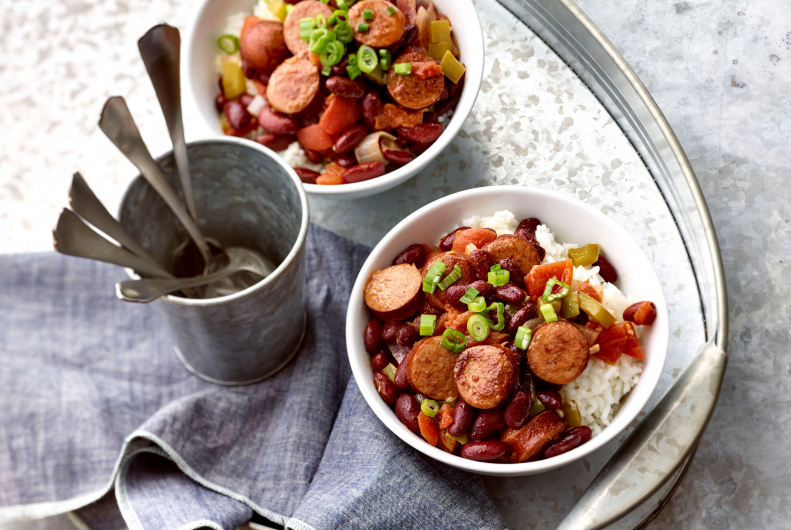 Easy Red Beans & Rice with Andouille Turkey Sausage