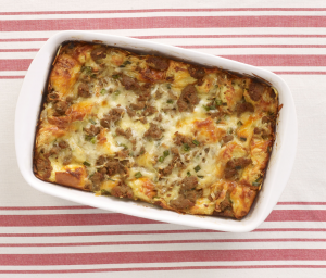 Breakfast Strata Casserole with Turkey Sausage