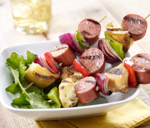 Turkey Sausage & Sourdough Kabobs