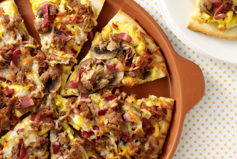 Turkey Bacon Sausage Breakfast Pizza
