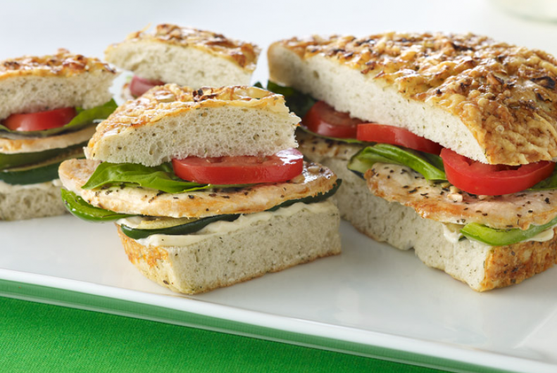 Basil Turkey and Vegetables on Focaccia