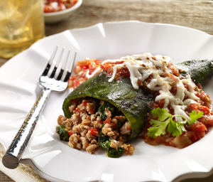 Turkey & Spinach Chile Relleno with Fresh Tomato Sauce