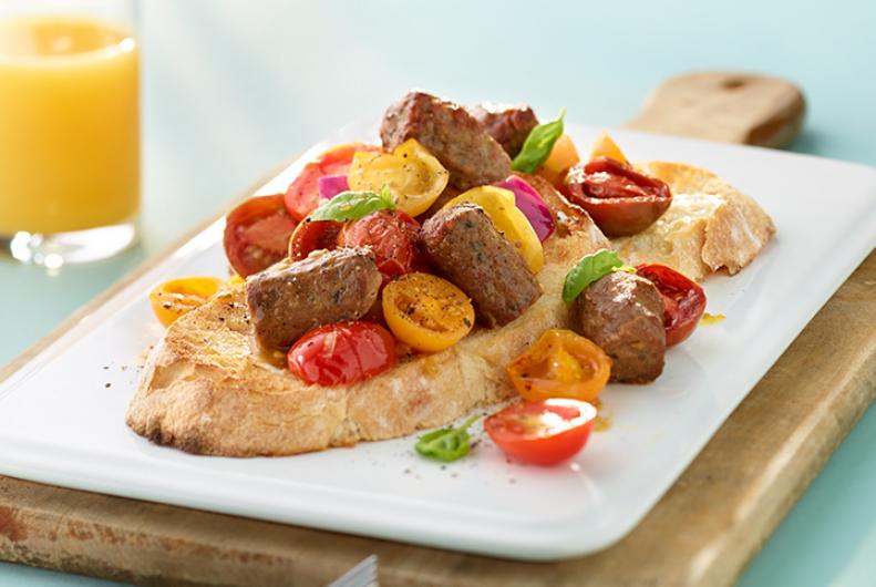 Roasted Tomato & Turkey Sausage Toast