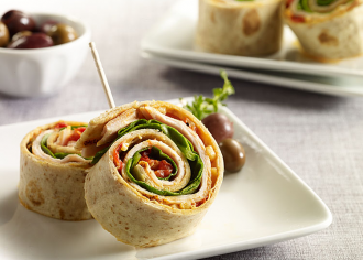 Roasted Red Pepper Turkey Pinwheels