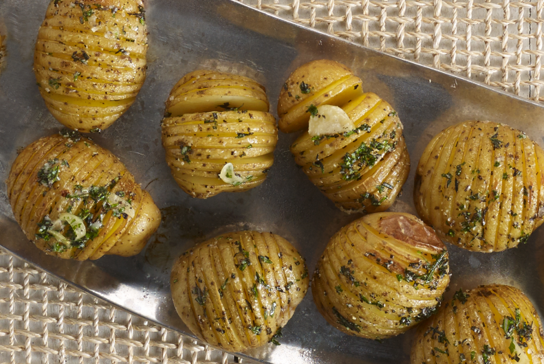 Garlic-Herb Roasted Hasselback Baby Potatoes