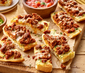 Cheesy Turkey Chorizo Garlic Bread