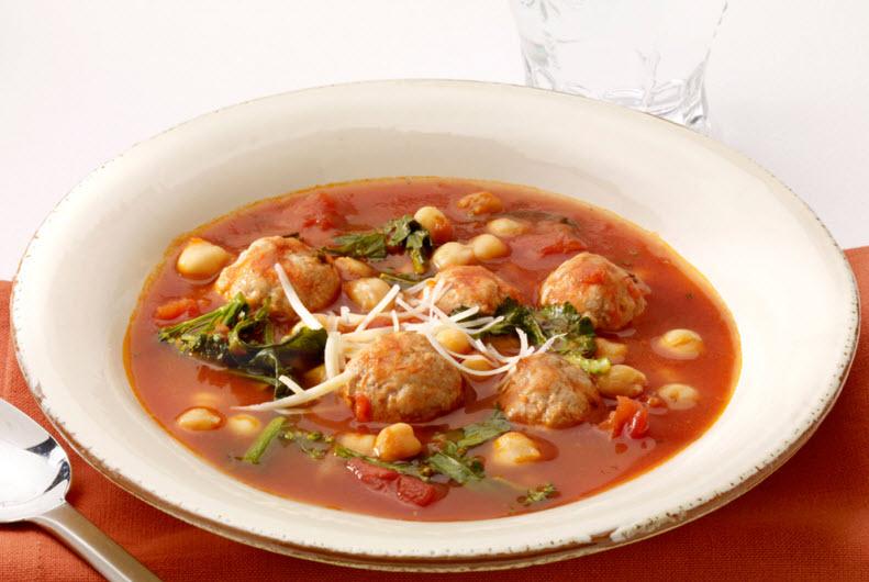 Turkey Meatball & Chickpea Soup