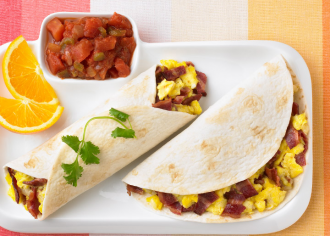 Quick Breakfast Turkey Burritos