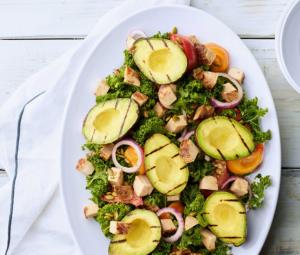 Grilled Avocado & Applewood Turkey Kale Salad