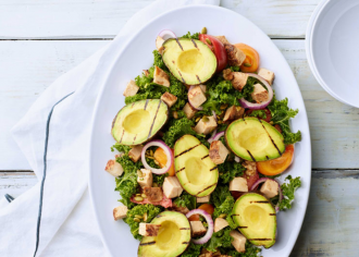 Grilled Avocado & Applewood Turkey Kale Salad