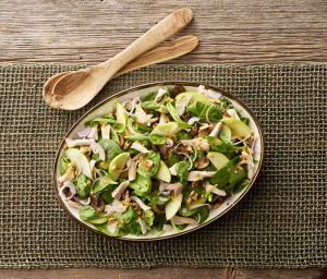 Turkey Spinach Mushroom Salad with Walnut Vinaigrette