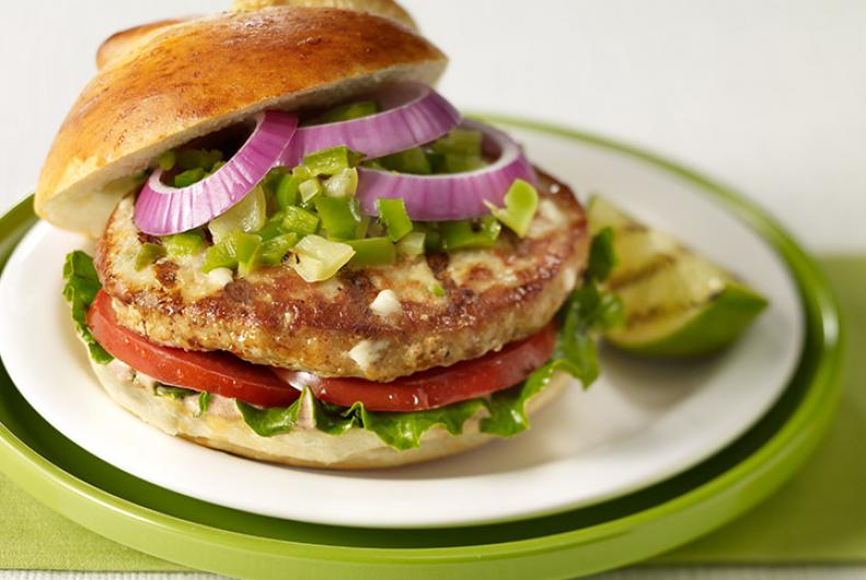Home / Recipes / Burgers / New Mexico Green Chili Turkey Burger