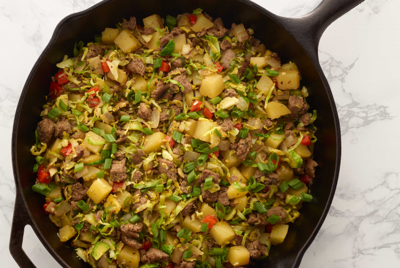 Brussel Sprout, Turkey Sausage and Potato Hash